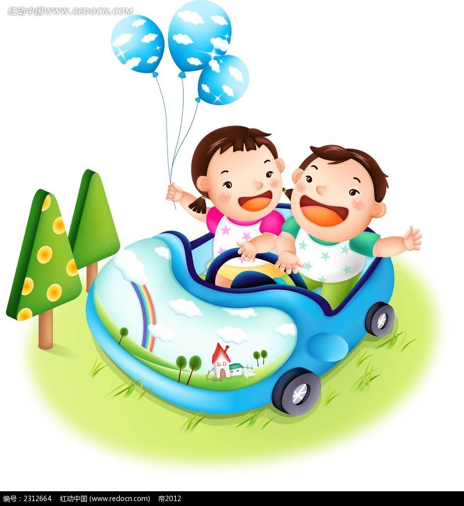 开小汽车的孩子可爱矢量韩国插画