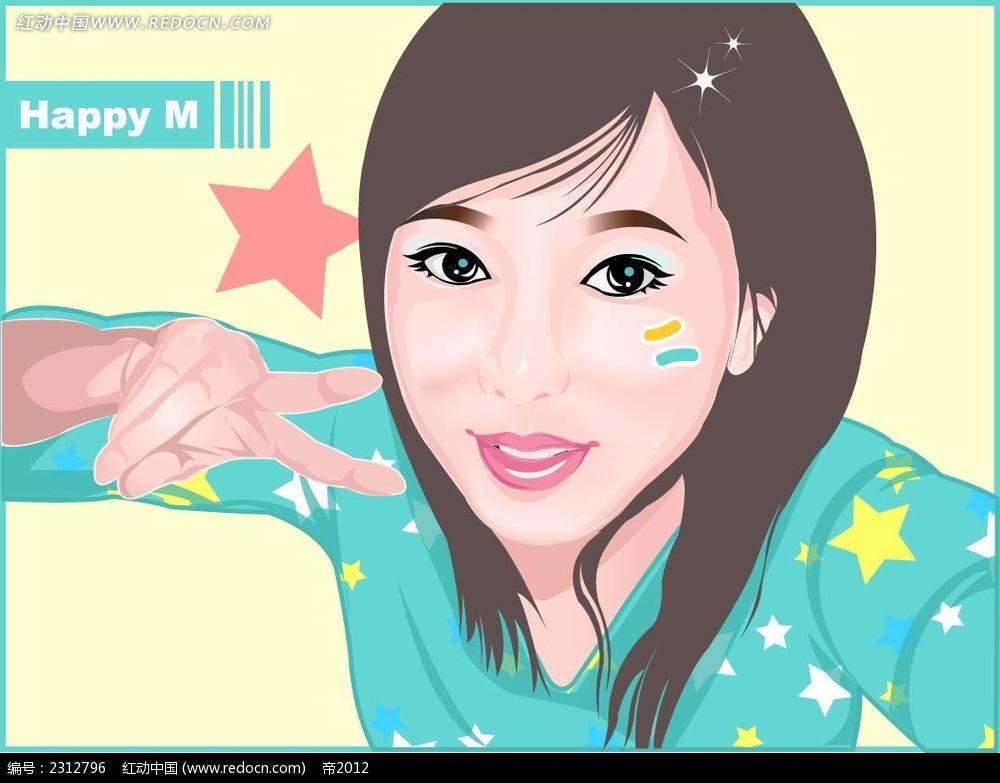 比剪刀手女人韩国矢量人物插画矢量图_卡通形象