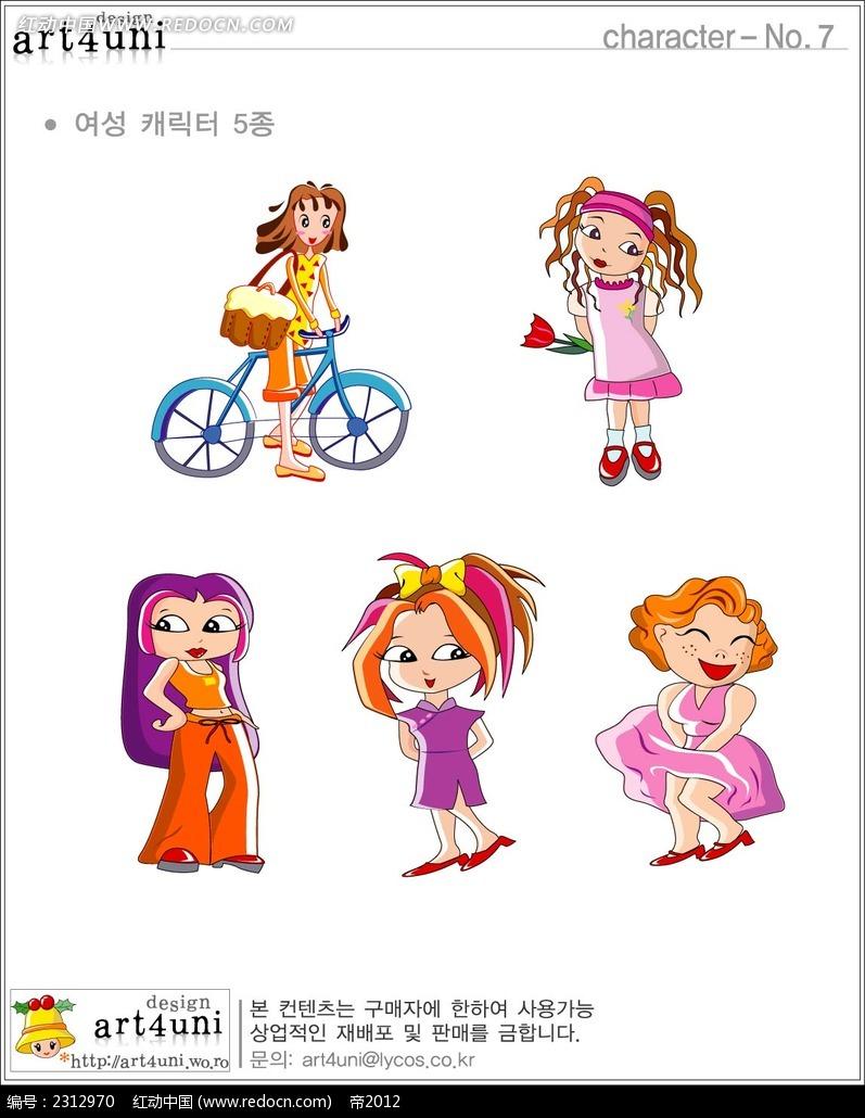女性角色韩国矢量人物漫画