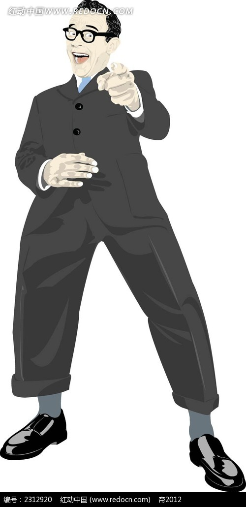大笑指你的西装男韩国时尚人物插画ai免费下载_卡通