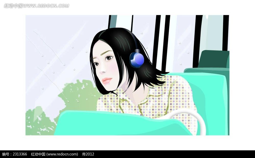 在车上听音乐的韩国ai档时尚女性插画图片