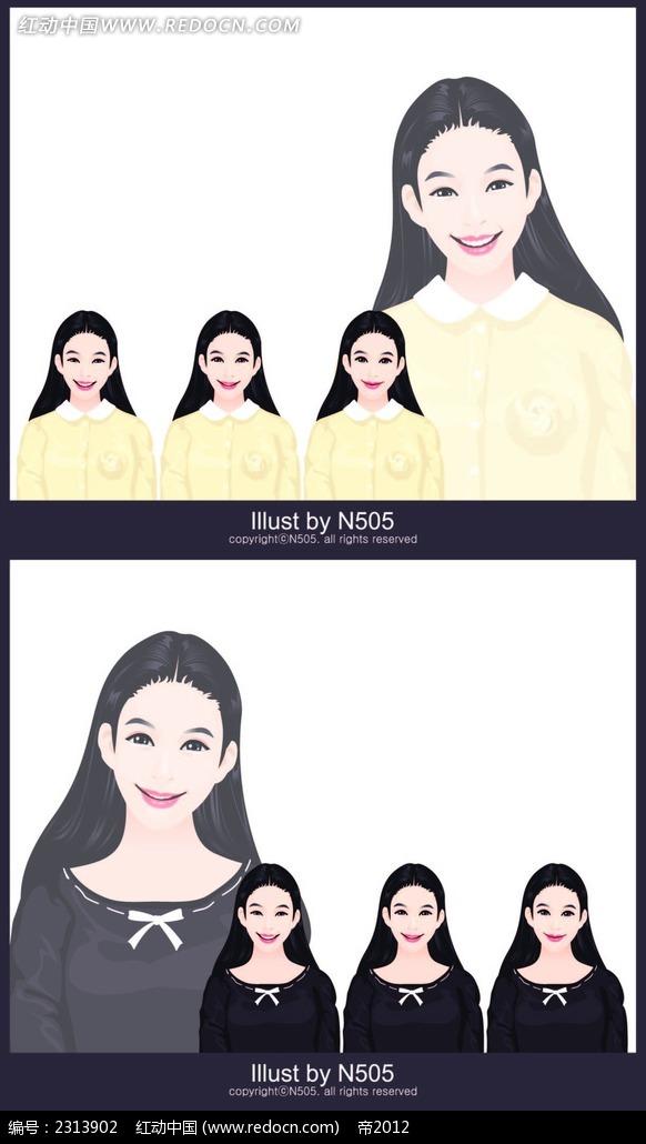 黑长直微笑女生卡通矢量人物插画