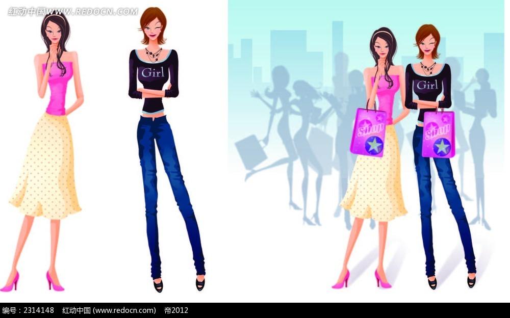 站立长腿购物女卡通矢量人物插画