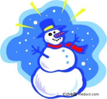 矢量图 ai 插画 漫画 卡通 手绘 插图 雪人 蓝色 可爱 红色围巾 蓝色