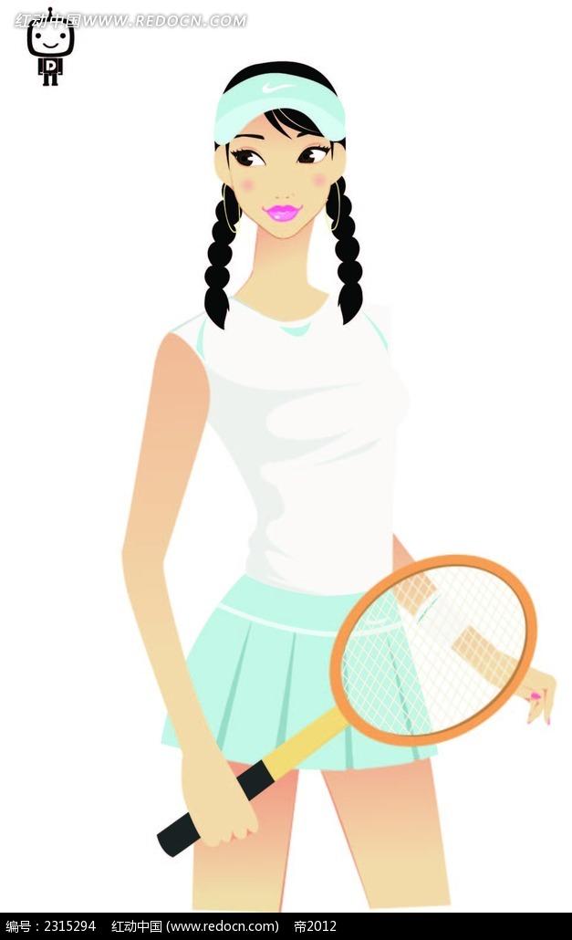 免费素材 矢量素材 矢量人物 卡通形象 > 打网球的女孩时尚插画  打网