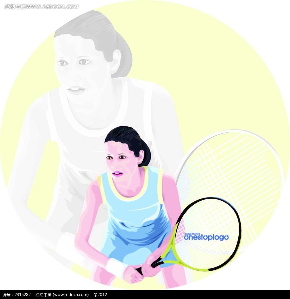 打网球的女孩子卡通人物插画