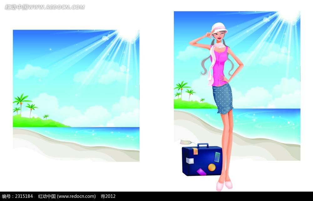 阳光沙滩美女插画图片