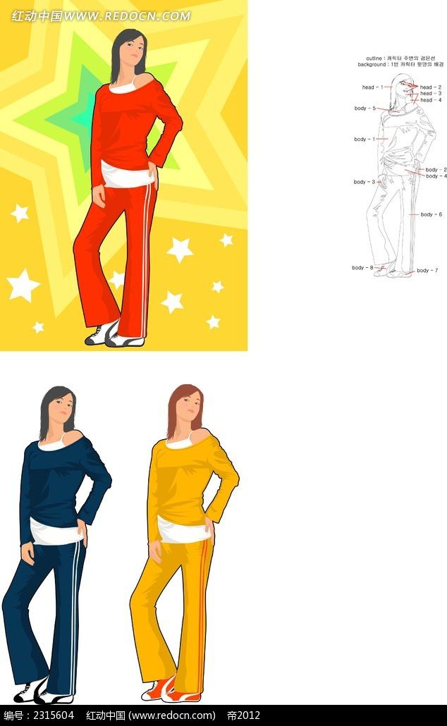 站立叉腰的运动女孩卡通矢量人物插画
