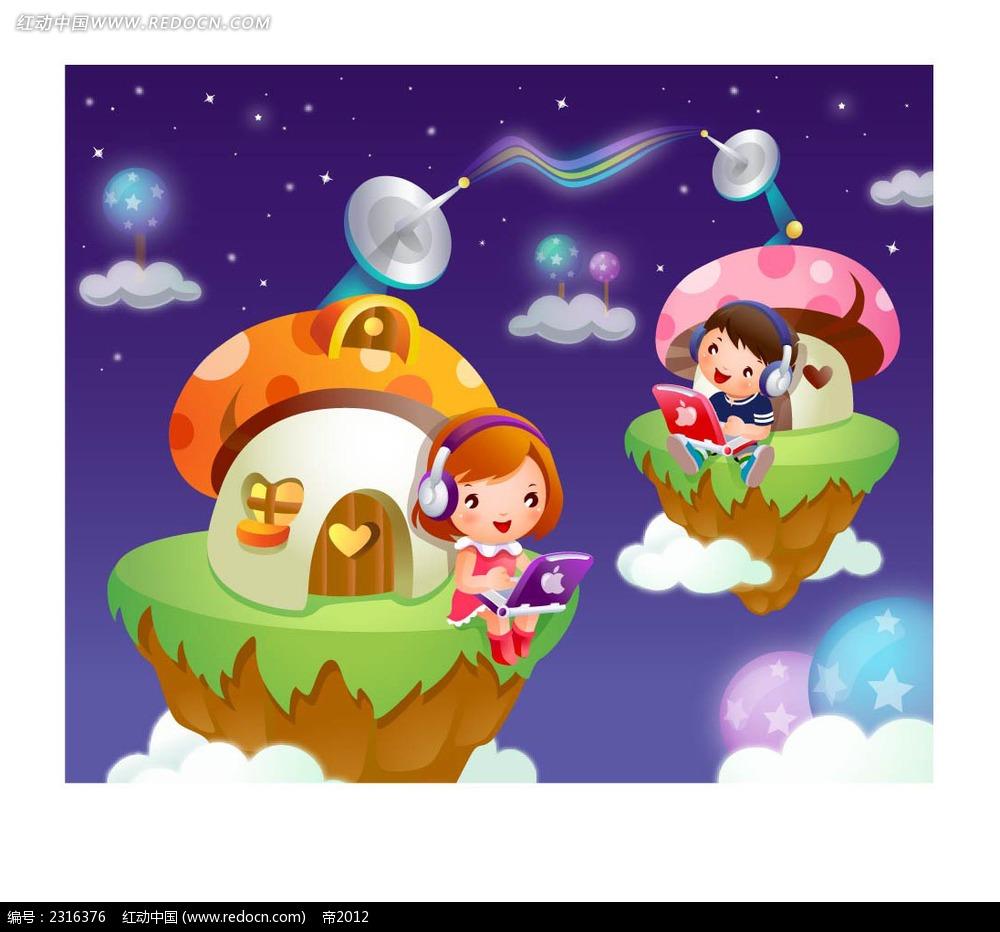 听音乐的小孩子卡通人物插画ai免费下载_卡通形象素材
