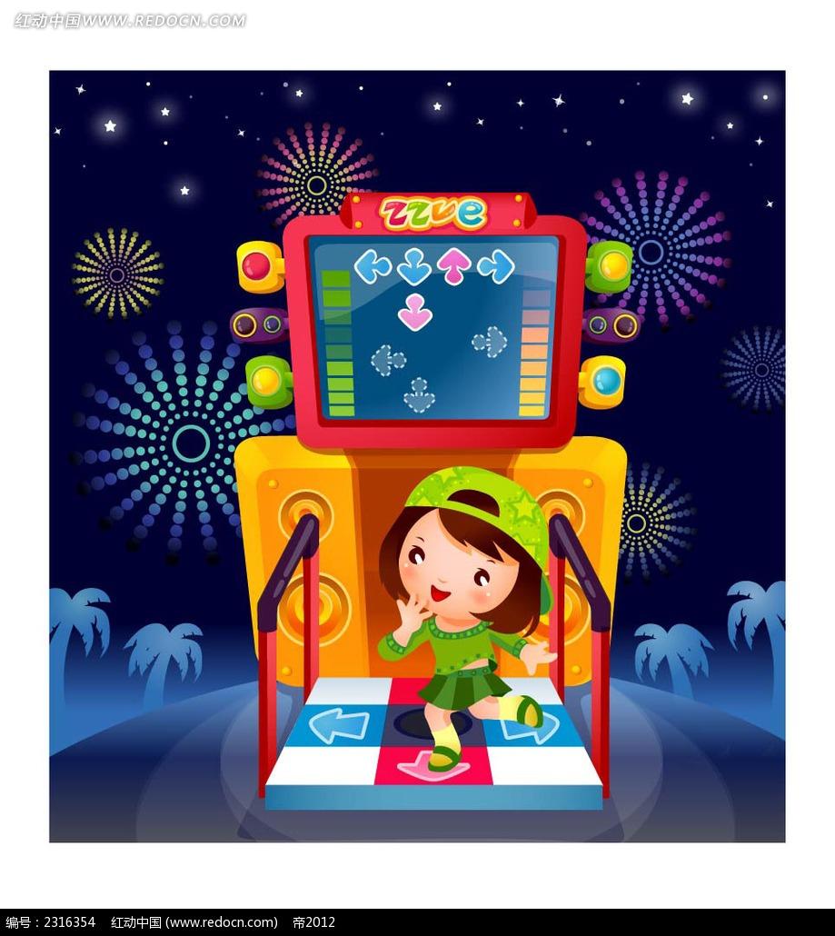 玩跳舞机的小孩子卡通人物插画