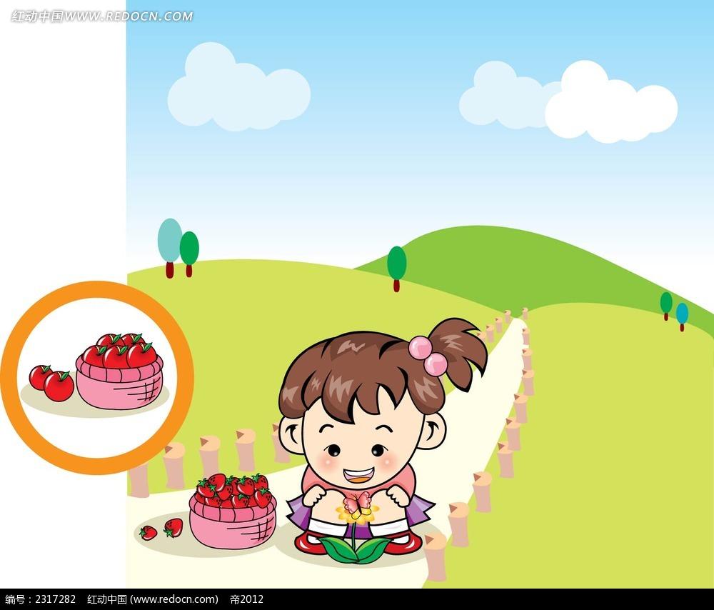 观察花朵的小女孩卡通人物插画
