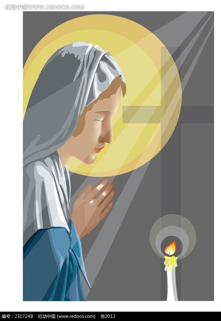 圣母玛利亚矢量插图