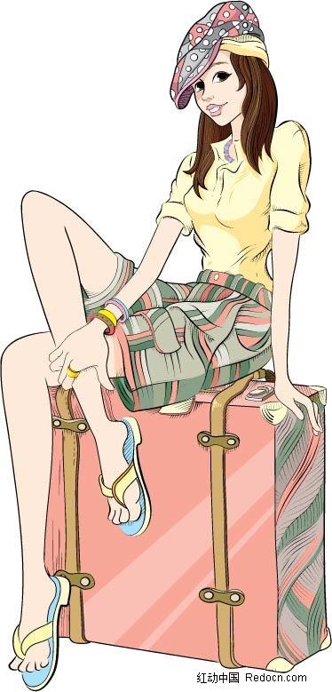 旅行箱旅行人物插图