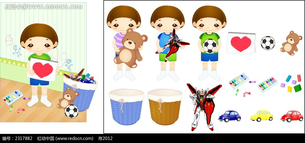小孩子的玩具箱时尚漫画ai免费下载_卡通形象素材