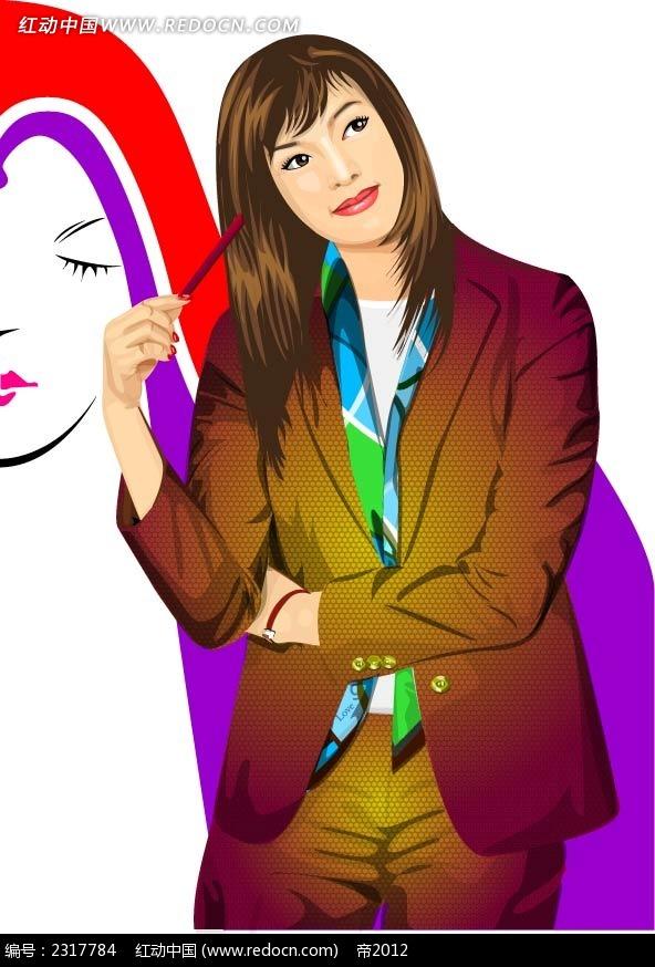 职场女性人物插画矢量图ai免费下载_卡通形象素材