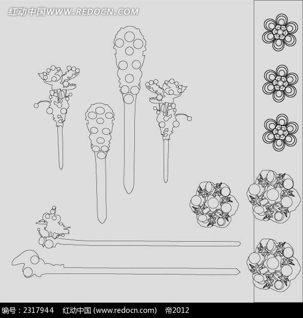 古代发饰黑白图样AI素材免费下载 编号2317944 红动网