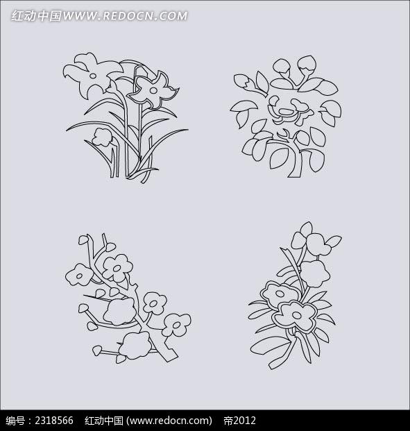 矢量植物花纹简笔画AI免费下载 传统图案素材 编号2318566 红动网