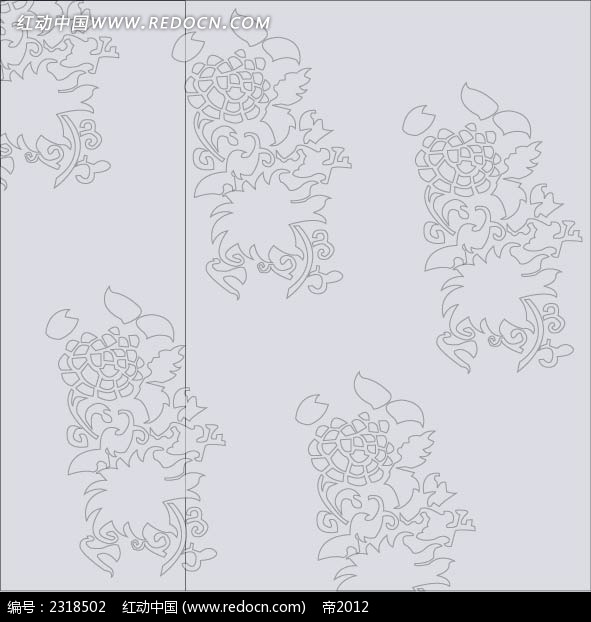黑白植物花纹线稿