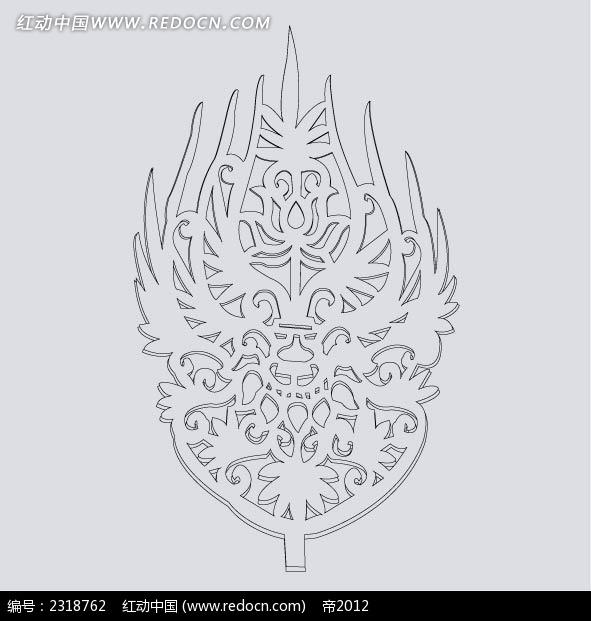 古典头饰花纹线稿图片