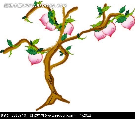古风桃树漫画手绘