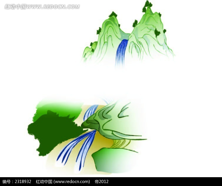 手绘矢量青山绿水