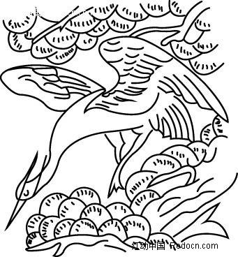 仙鹤松树背景素材矢量图ai免费下载