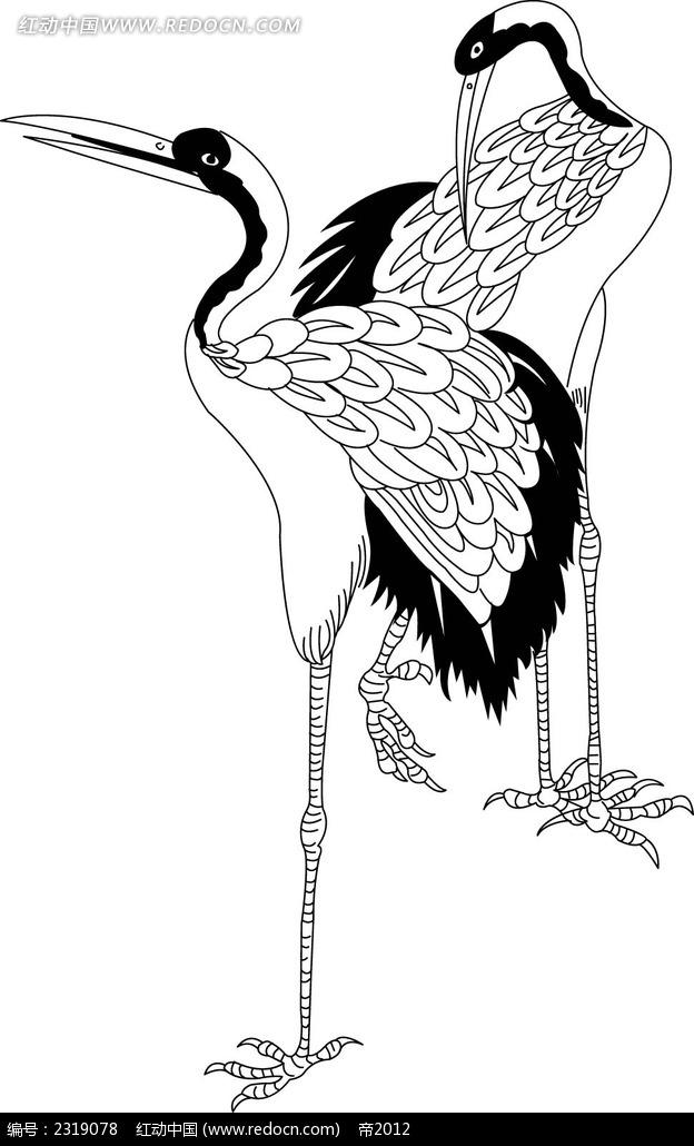 手绘仙鹤插画素材