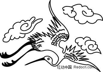 仙鹤矢量素材矢量图_卡通形象