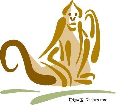 猴子手绘插画图片