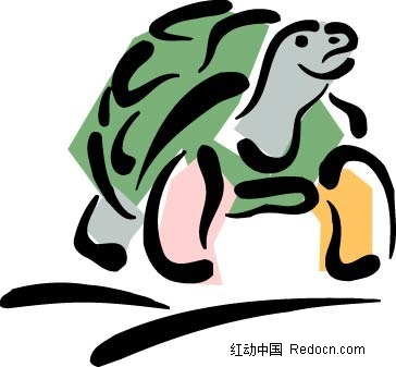 简笔画乌龟矢量插画AI素材免费下载 红动网