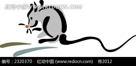 灰色小老鼠手绘插画