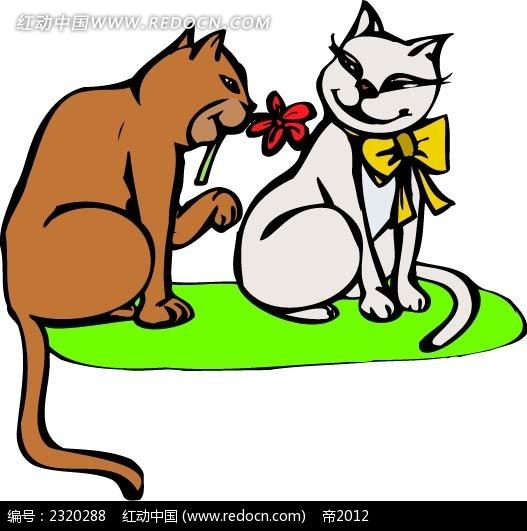 猫咪情侣矢量插画