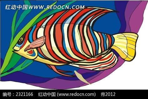 珊瑚条纹鱼动物卡通手绘插图