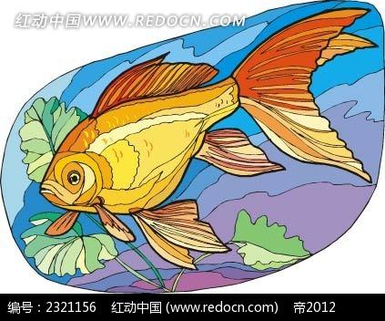 金鱼动物卡通手绘插图