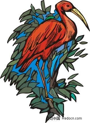 红鹤动物卡通手绘插图