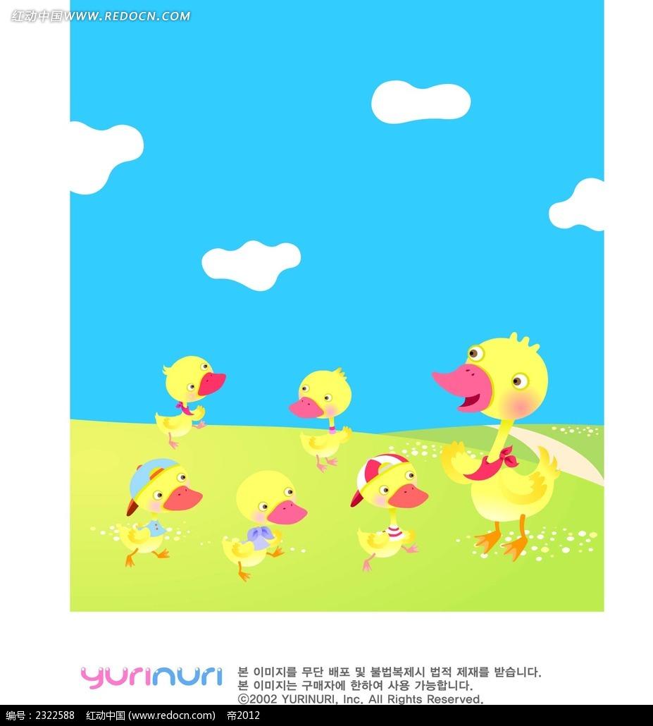 鸭子大自然蓝天白云手绘背景画