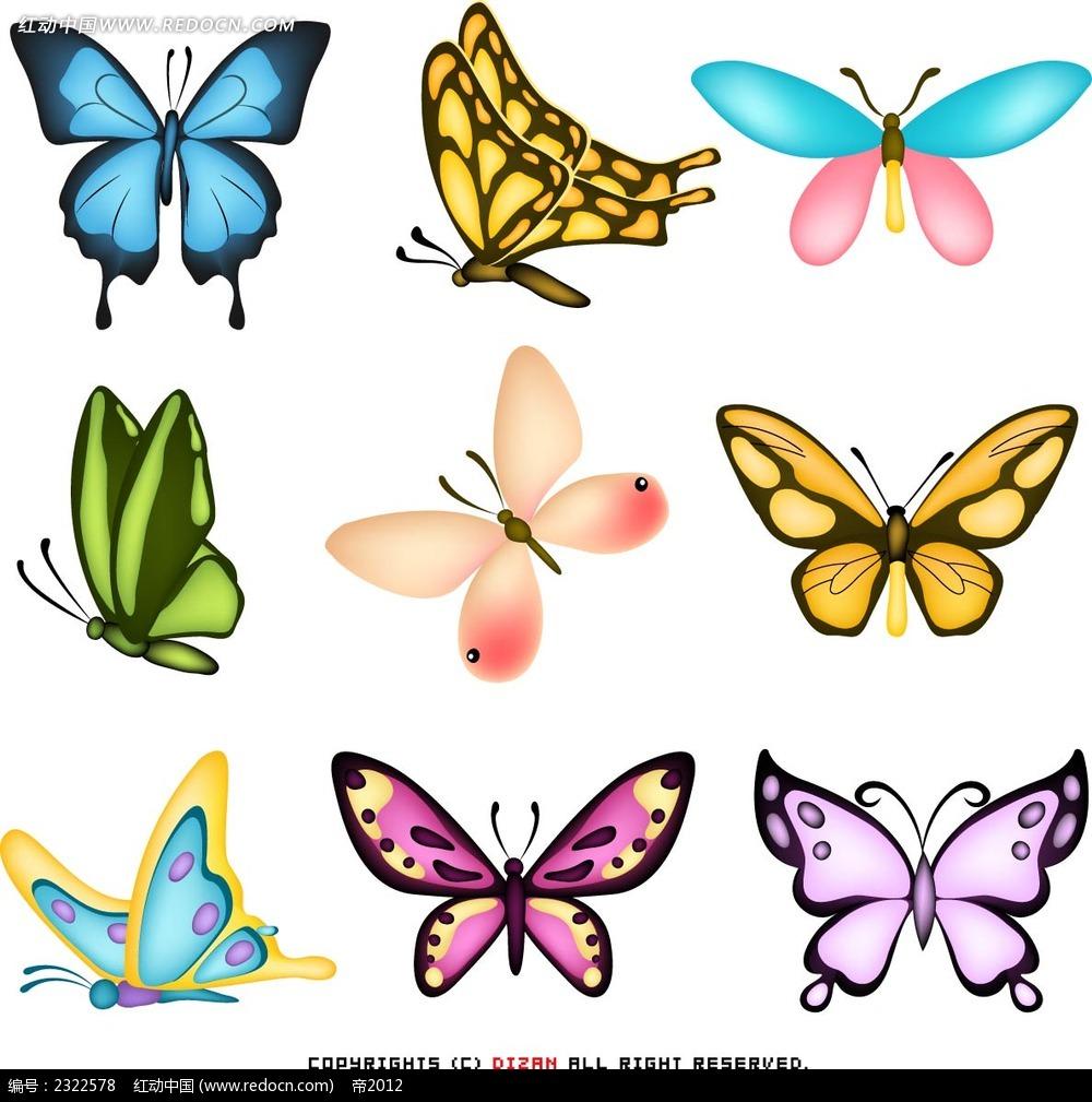 七彩蝴蝶手绘画