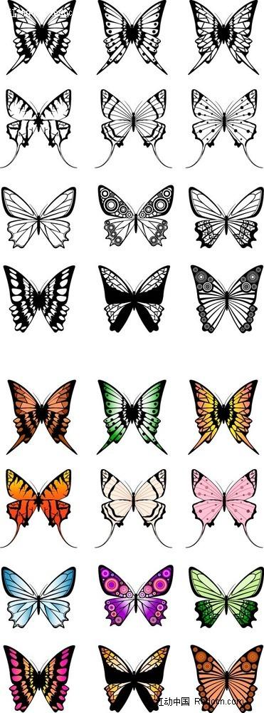 多彩蝴蝶手绘画