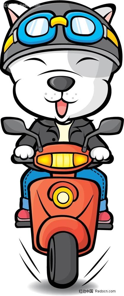 骑摩托车的小狗手绘画