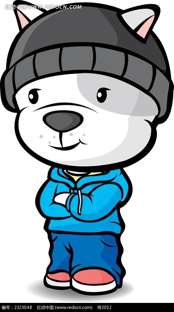 带帽子的小狗手绘图形