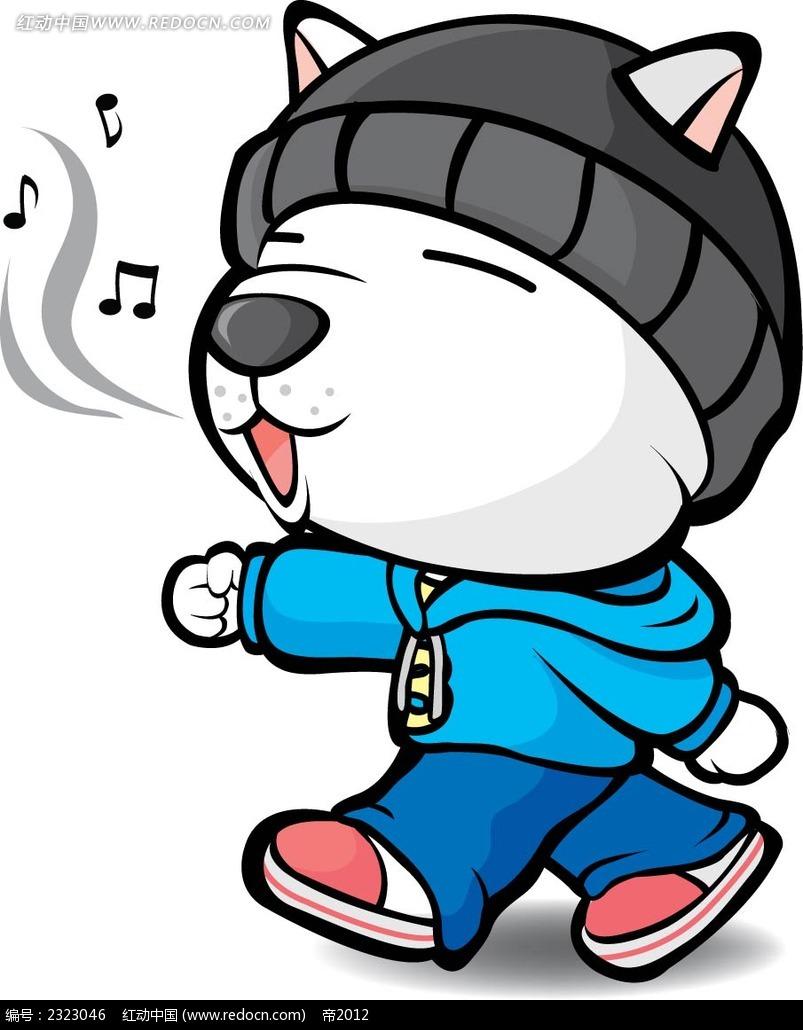 戴帽子唱歌的小狗手绘画图片