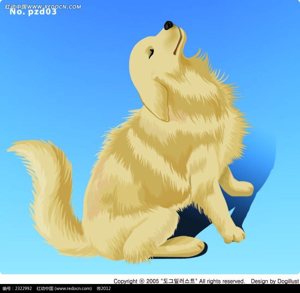 蹲着仰视的小黄狗手绘画