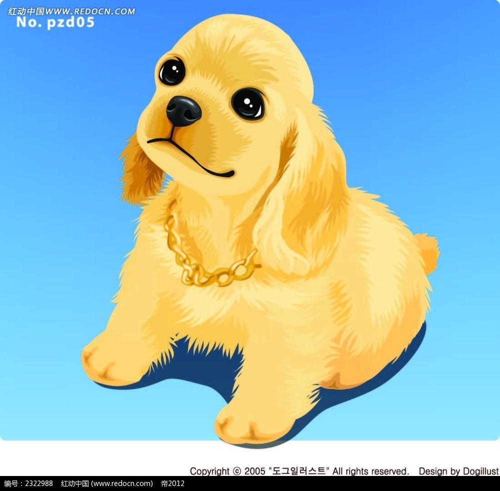 蹲着的黄毛狗手绘画