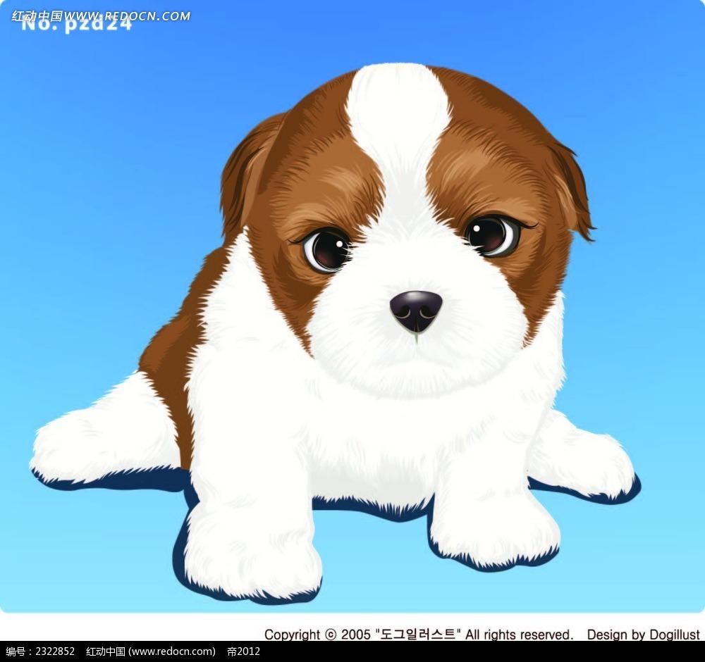 发呆的小狗手绘画