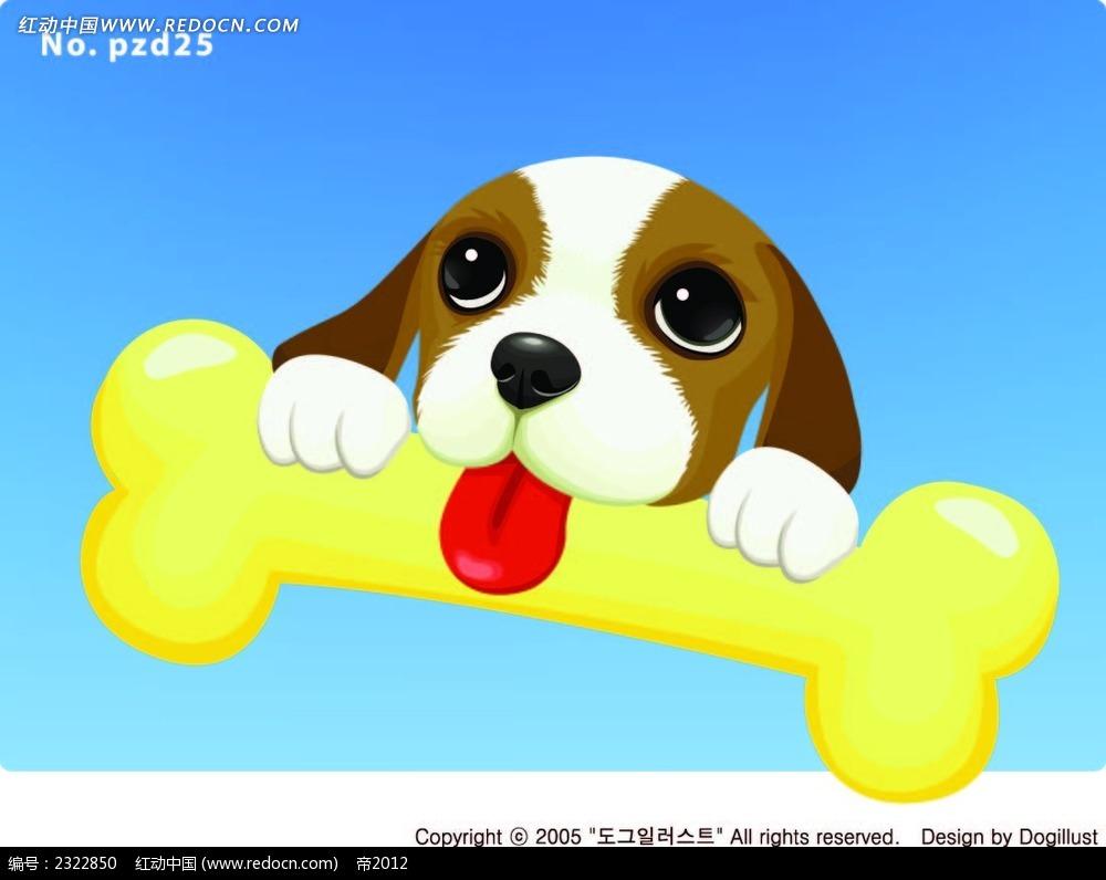 咬骨头的小狗手绘画