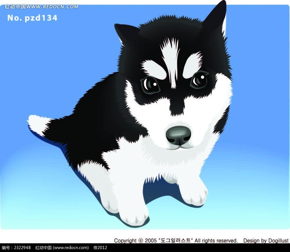 表情凶狠的小狗手绘画