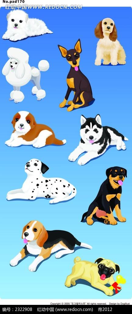 各类小狗手绘画