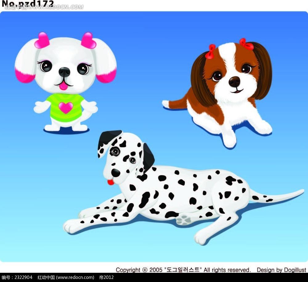 扎鞭子的小狗斑点狗手绘图形