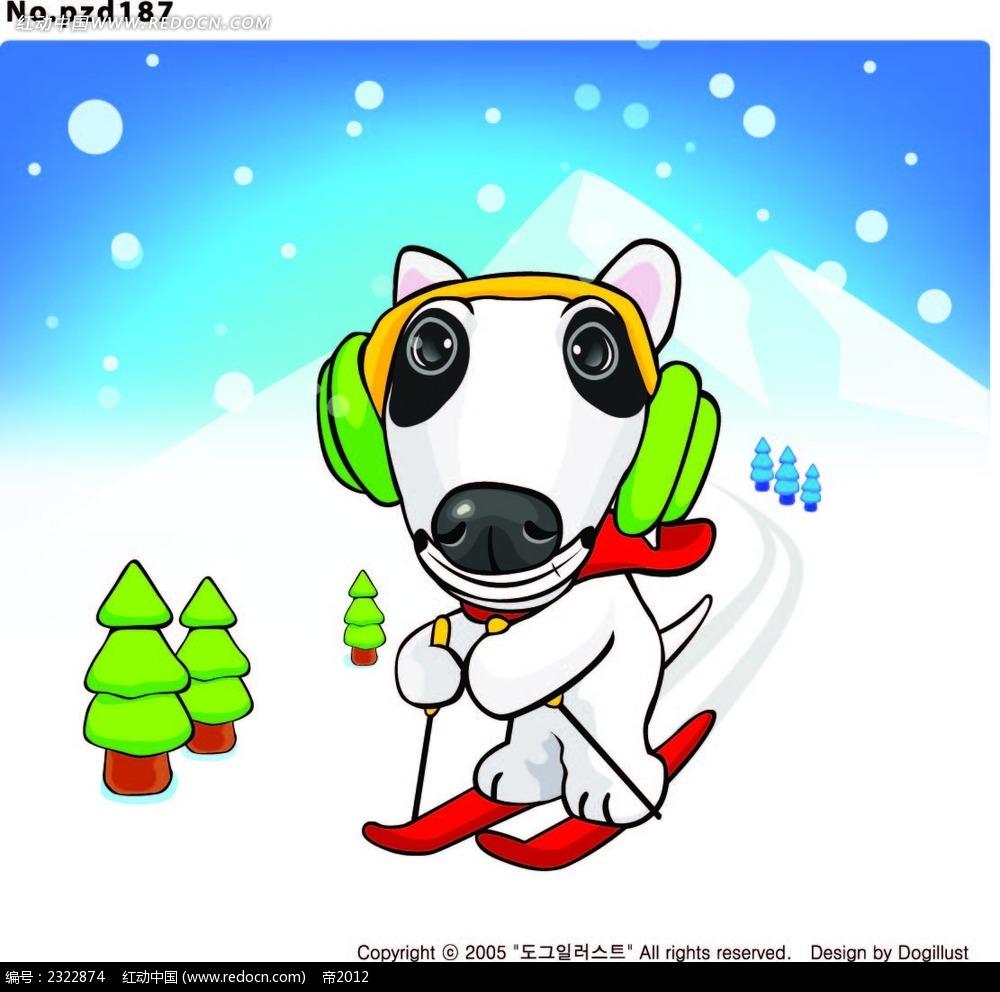 山间滑雪带耳机听音乐的小狗手绘画