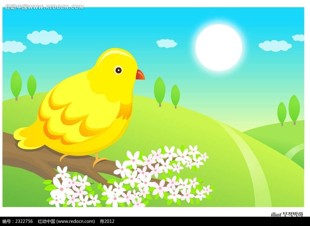 春季大自然小鸟树枝手绘背景画